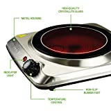 Ovente Electric Glass Infrared Burner 7 Inch Single Hot Plate 1000 Watt Portable & Compact Indoor Kitchen Cooktop with Adjustable Temperature Control and Fire Resistant Metal Housing, Silver BGI101S