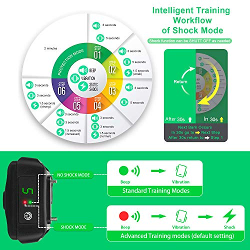 JIALANJIUYU Dog Training Collar,Training Collar for Dogs, NO Hurt and  Rechargeable and IP7 Level Waterproof with 1800FT Remote  Beep/Vibration/Shock