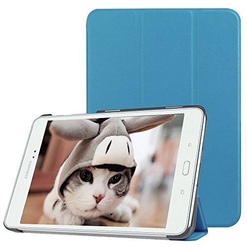 Samsung Galaxy Tab E 9.6 Hülle,TechCode ® Tasche mit Standfunktion Auto Wake up Sleep PU Leder Hüllen für Samsung Galaxy mit Auto Sleep Wake up / Standfunktion Kunstleder, Ultra Dünn Tab E 9,6 -Zoll- T560(TAB E 9.6, Himmelblau)