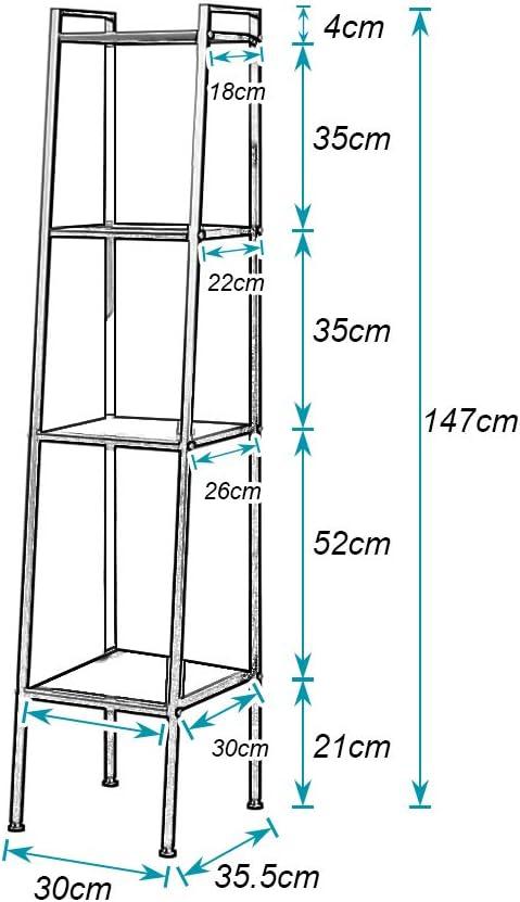 Schlafzimmer K/üche,Schwarz B/ücherregale DlandHome 4 Ebenen Standregal f/ür Wohnzimmer Multifunktionale Leiter Regal Metall f/ür den Rahmen