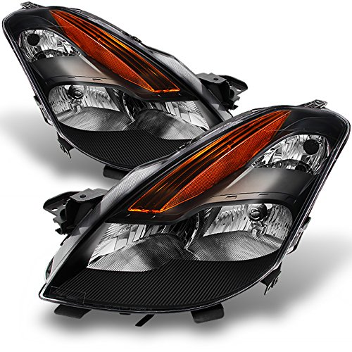 Door 2 Altima - For Nissan Altima 2 Doors Coupe D32 Black Bezel Halogen Type Headlights Front Lamps Replacement Pair