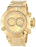 Invicta Men's 14500 Subaqua Noma III Chronograph Gold Dial 18k Gold Ion-Plated Stainless Steel Watch, Watch Central