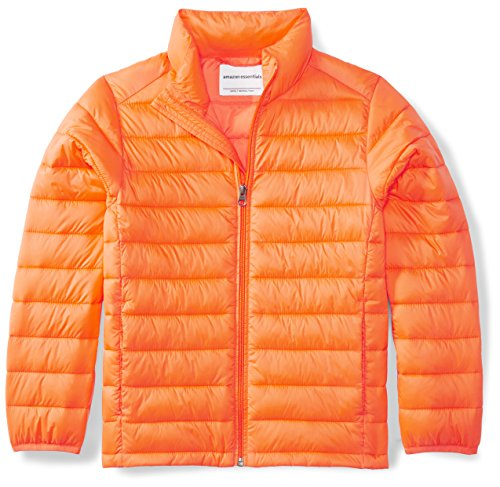 Amazon Essentials Boys' Lightweight Water-Resistant Packable Puffer Jacket, Orange Pop, Medium