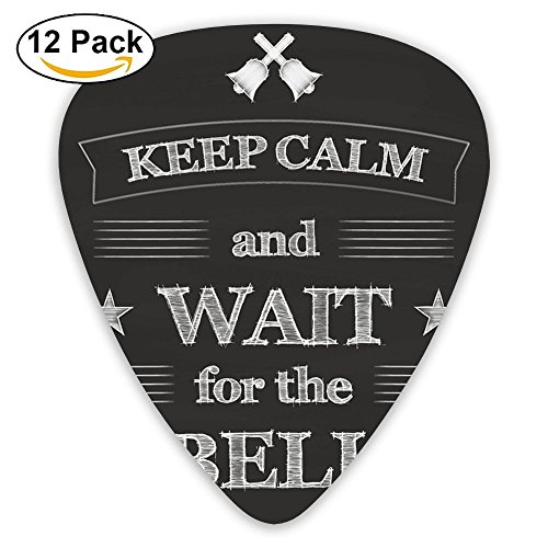 Clam Bells - SLADDD1 Keep Clam And Wait For The Bell Classic Stylish Colorful Guitar Picks Plectrums For Electric Guitar, Acoustic Guitar, Mandolin, And Bass - 12 Pack
