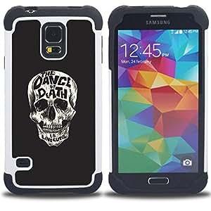"""SAMSUNG Galaxy S5 V / i9600 / SM-G900 - 3 en 1 impreso colorido de Altas Prestaciones PC Funda chaqueta Negro cubierta gel silicona suave (Baila al cráneo ¡Muerte"""")"""