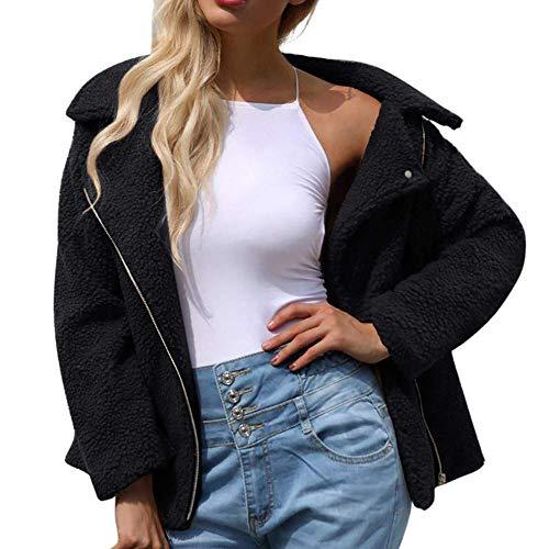 Autunno Manica Vintage Calda Outwear Elegante Donna Sciolta Inverno Giovane Bavero Lunga Da Invernale Addensare Per Casual Tasca Schwarz Cappotto Moda Giacca Finto Corto YwfRRq