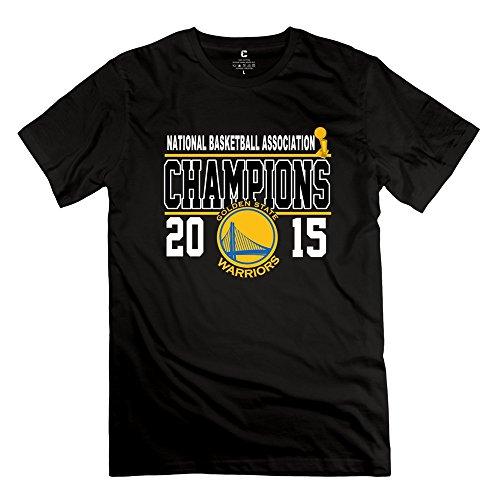 FUDI Men's 2015 NBA Finals Champions Golden State Warriors T-shirt XL Black