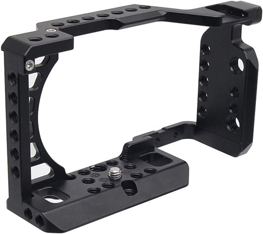 Easy Hood Cage for Sony Alpha A6100 A6400 A6300 A6500 A6000 Camera Aluminum Vlogging Video Shooting Rig Stabilizer with 1//4 3//8 Mounting Points and Cold Shoe for Mic Monitor Fill Light
