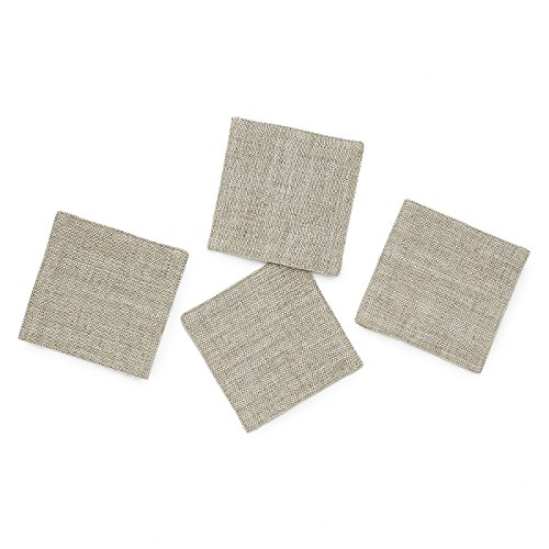 Solino Home Rustic Linen Coasters - 4 x 4 Inch, Set of 4 Handwoven and Handcrafted - Natura Collection, Light Soil Coaster