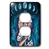 3dRose Erica Wexler - Space - Alter Ego Woman in Space With Moons - Light Switch Covers - 2 plug outlet cover (lsp_289650_6)