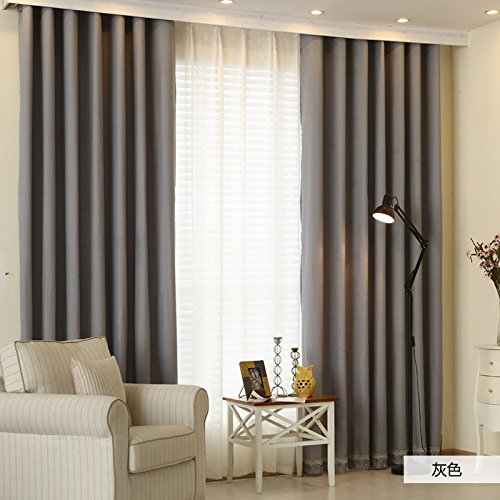 PEIWENIN Schlafzimmer Vorhänge Volltonfarbe modernen minimalistischen fertig Wohnzimmer Vorhänge Küche Vorhänge, Single, Breite: 150 cm * Höhe: 270 cm, grau