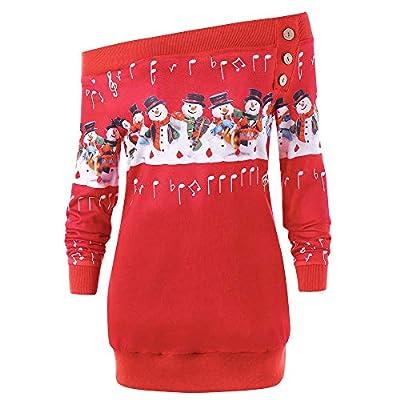 NUWFOR Womens Merry Christmas Plus Size Pullover Deer Elk Printed Skew Neck Sweatshirt