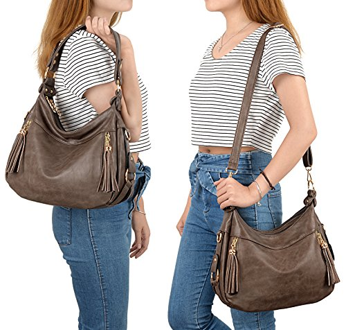 UTO Purse Women Khaki Shoulder Leather Style Bag Handbag PU Hobo IvI1xwZ