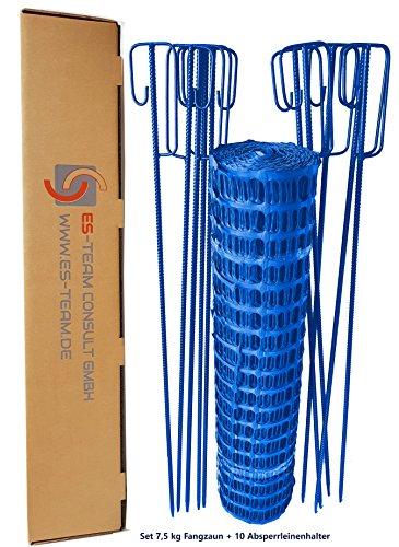 51CtrqcL7tL UvV Set Fangzaun blau 50 m + 10 Absperrleinenhalter, Absperrnetz, Maschenzaun, Bauzaun Rolle Kunststoff Extra Reissfest…