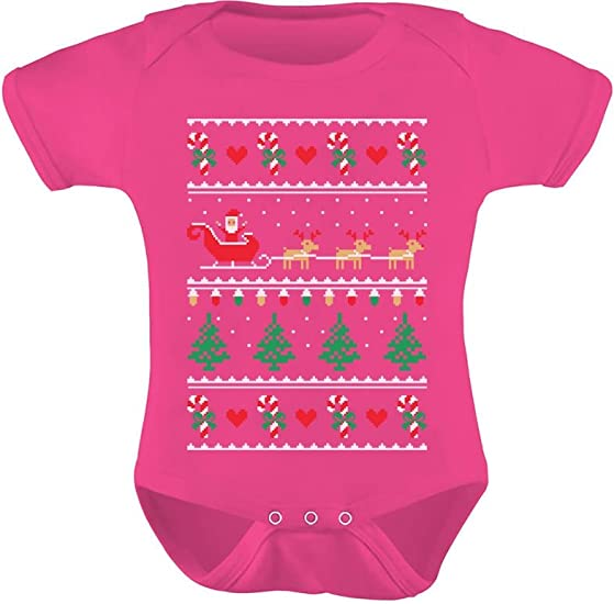 Flying Santa Ugly Christmas Sweater Bodysuit Cute Xmas Baby Bodysuit Gift