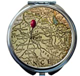 Rikki Knight Paris And France Vintage Map Design Round Compact Mirror
