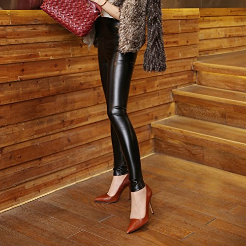 Laixing Hot Women Faux Leather Skinny Stretch Trousers PU High Waist Pencil Pants 8932 Black