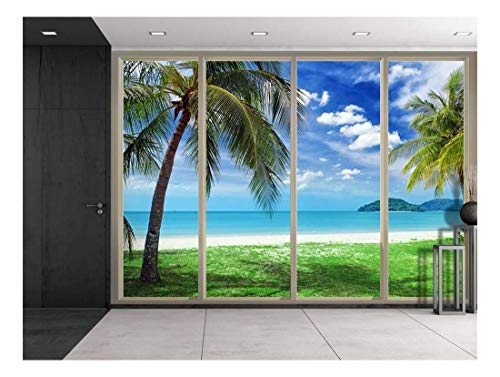 wall26 - Palm Trees Overlooking The Ocean and Other Islands Viewed from Sliding Door - Creative Wall Mural, Peel and Stick Wallpaper, Home Decor - 66x96 inches