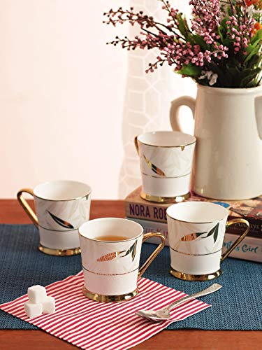 Femora Indian Ceramic Fine Bone China Tea Cup Set, 200 ML, Set of 6, Multi-Color Price & Reviews