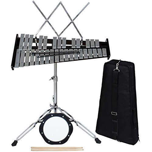 Bell Percussion Kit Carry Case (TMS 32 Notes Percussion Glockenspiel Bell Kit with Practice Pad+Mallets+Sticks+Stand)