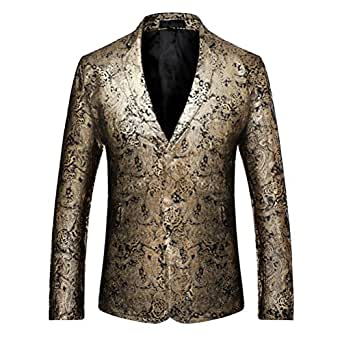 iCham Mens Tuxedo Printed Floral Suit 2 Button Slim Fit Wedding Dress Suits Jacket