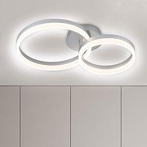 WELAKI LED Flush Mount Ceiling Light 2 Rings Round 40W Warm White 4000K Modern Ceiling Lighting Fixture for Living Room Bedroom Kitchen Dining Room Office Home Décor Acrylic Shade, Sliver