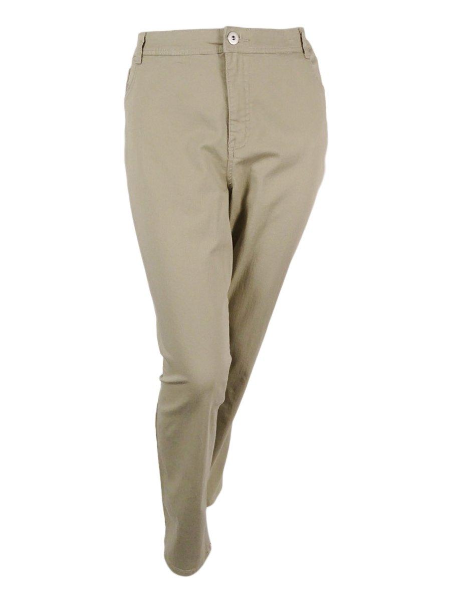 Style & Co. Womens Plus Colored Comfort Waist Slim Leg Jeans Beige 22W