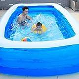 HOBFU Inflatable Pool, Family Swimming Pool, Lounge Wading Pool, Blue PVC Rectangular Pool for Garden,Backyard, Outdoor