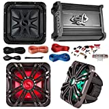 Car Subwoofer And Amp Combo: Kicker 11S10L74 10'' Audio Subwoofer Speaker + 10'' Charcoal Grill With LED Lighting + Lanzar 2000W Mono Block Stereo Amplifier + 8 Gauge Marine Amplifier Installation Kit