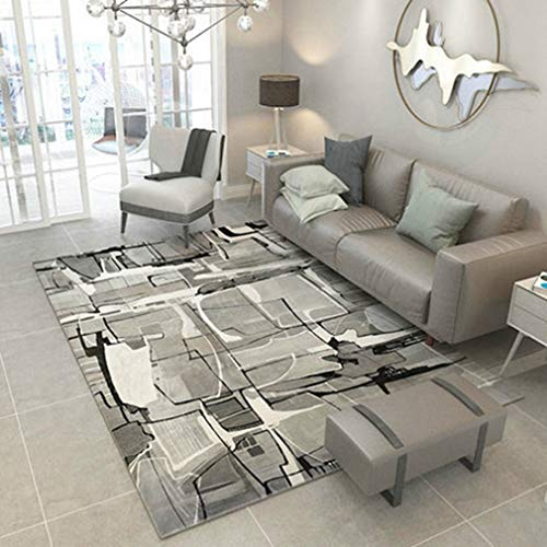 GIY Abstract Living Room Area Rugs Rectangular Carpets Children Bedroom Mats Home Decor Outdoor Indoor Runners 3' X 4' Black/White (Baja Square Rug)