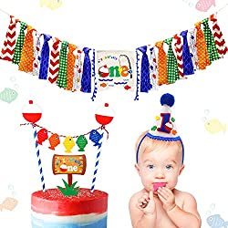 3-In-1 Fishing First The Big One Happy Birthday Party Decorations- Little Fisherman Highchair Banner+Hat+Cake Topper