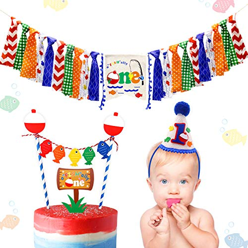 3-In-1 Fishing First The Big One Happy Birthday Party Decorations- Little Fisherman Highchair Banner+Hat+Cake Topper -