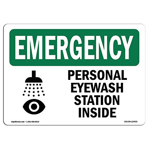 OSHA Emergency Sign - Personal Eyewash Station Inside with Symbol | Aluminum Sign | Protect Your Business, Work Site, Warehouse | Made in The USA (Safety Signs And Symbols In Science Lab)