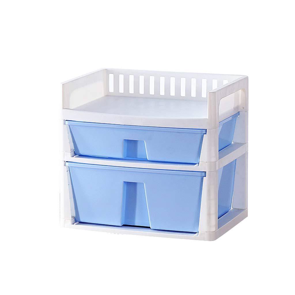 LCSHAN Desktop File Cabinet Desk Stationery File Drawer Storage Storage Cabinet Consolidation Box (Color : Blue)