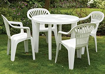 round garden table 4 arm chairs in white resin patio furniture rh amazon co uk Resin Wicker Patio Furniture Wicker Rattan Patio Furniture Gray