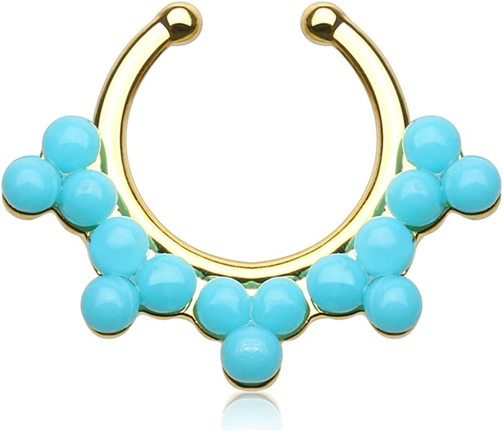 Dynamique Double Lined Turquoise Color Beads Non-Piercing Septum Hanger