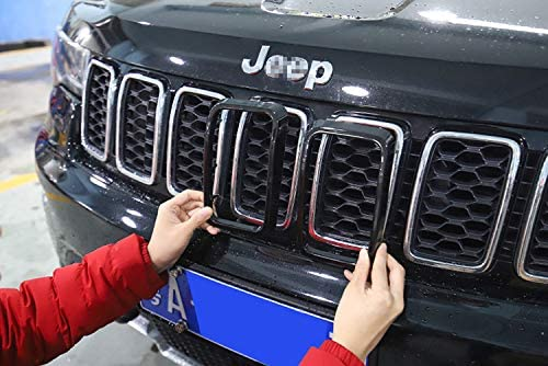 YAV Black Grill Inserts Rings Grille Inserts for 2014 2015 2016 Jeep Grand Cherokee Accessories Trim Body Kit Covers 7PC
