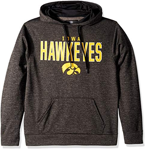 Top of the World NCAA Men's Iowa Hawkeyes Dark Heathered Foundation Poly Hoodie Black Heather Large