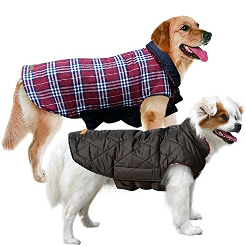 MIGOHI Dog Jackets for Winter Windproof Waterproof Reversible Dog Coat for Cold Weather British Style Plaid Warm Dog Vest for Small Medium Large Dogs L