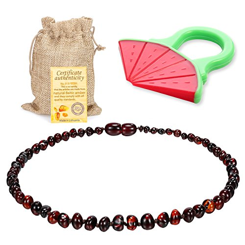 Baby Baltic Amber Teething Necklace Jewelry - (Cherry) Anti-Flammatory, Drooling & Free Teething Toy Pain Reduce - Reduces Tension and Fear, Teething Necklace For 3 to 36 Months Babies,Boys and Girls by Sweetie House (Image #9)