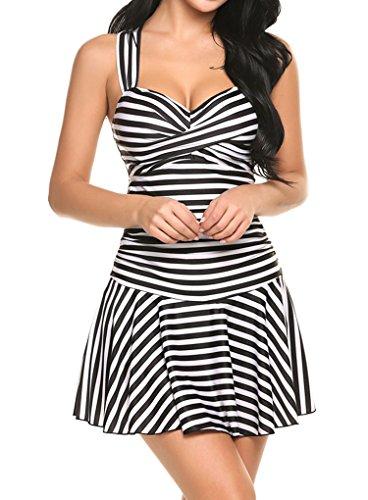 Locryz Women's Striped Crossover Ruched One Piece Swim Dress Padded Swimwear Swimsuit (L, Black)
