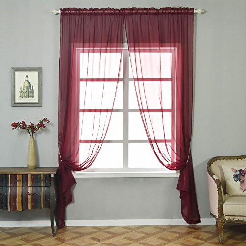 BalsaCircle 52 x 96-Inch Burgundy Sheer Organza Backdrop Window Drapes Curtains 2 Panels - Home Party Wedding Ceremony Decorations