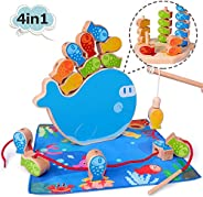 4 in 1 Wooden Magnetic Fishing Game Montessori Stacking Game and Beaded Sorter Toys Fine Motor Skill Toy Best
