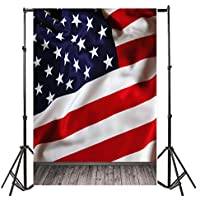 Laeacco Customizable 5x7ft Vinyl Photography Background Wooden Floor and American Flag the Stars and the Stripes Wall Scene 1.5*2.2m Backdrop Photo Studio Props
