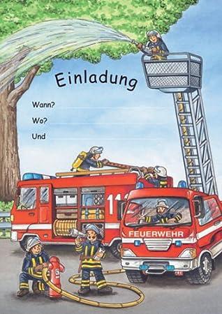 Feuerwehr Einladungen Kindergeburtstag Geburtstag 12er Set NEU