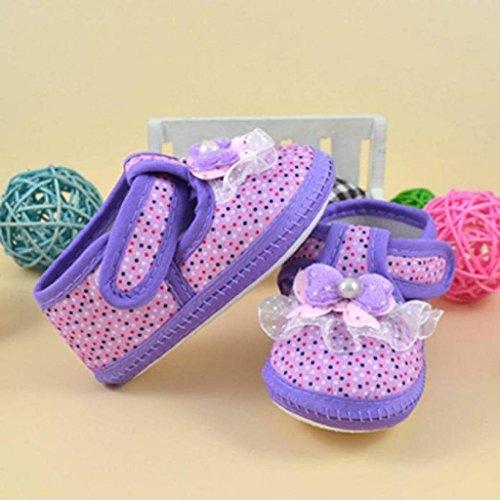 Koly Prewalker Zapatos, primeros pasos para bebé-niñas, Botas de flores y zapatos de pesebre suaves (S, Rosa) morado