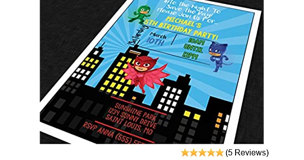 Amazon.com: Custom Birthday Party Invitation - PJ Mask - Skyline (20 invitations with envelopes): Toys & Games