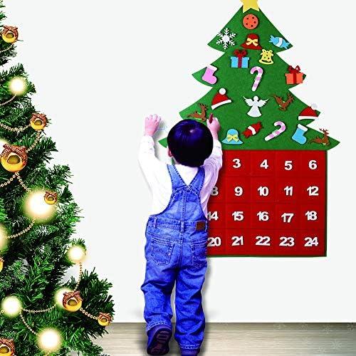 [해외]Peyan 2019 Felt Christmas Tree Ornaments Advent Calendar with Pocket - DIY Xmas Countdown Decorations Wall Door Hanging Gift for Kids / Peyan 2019 Felt Christmas Tree Ornaments Advent Calendar with Pocket - DIY Xmas Countdown Decor...