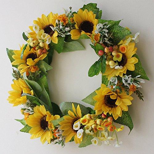 Silk Floral wreath home wall décor Artificial sun flower head ...