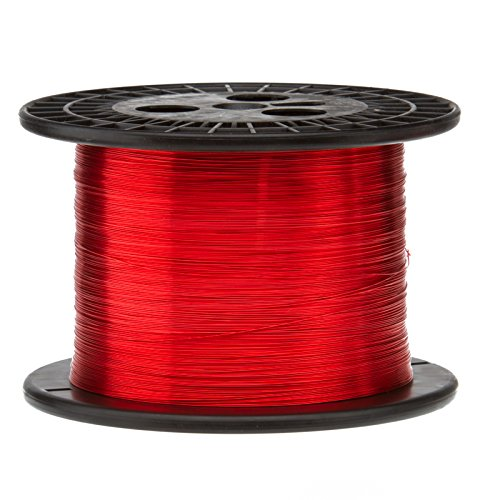 Magnet Wire, Heavy Build Enameled Copper Wire, 26 AWG, 5.0 Lbs, 6290' Length, 0.0178'' Diameter,Red